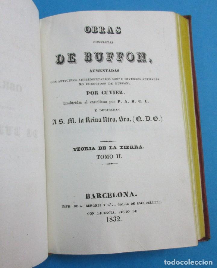 Libros antiguos: TEORÍA DE LA TIERRA. OBRAS DE BUFFON AUMENTADAS POR CUVIER. 6 TOMOS, 3 VOLÚMENES.1832. PIEL.COMPLETO - Foto 4 - 126260819