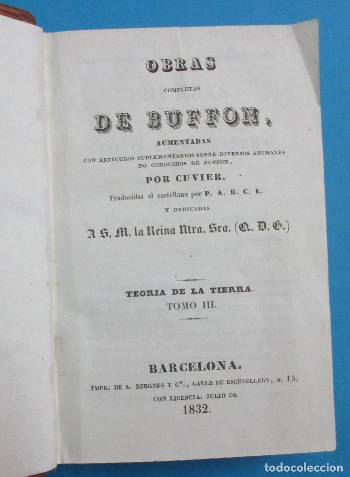 Libros antiguos: TEORÍA DE LA TIERRA. OBRAS DE BUFFON AUMENTADAS POR CUVIER. 6 TOMOS, 3 VOLÚMENES.1832. PIEL.COMPLETO - Foto 5 - 126260819