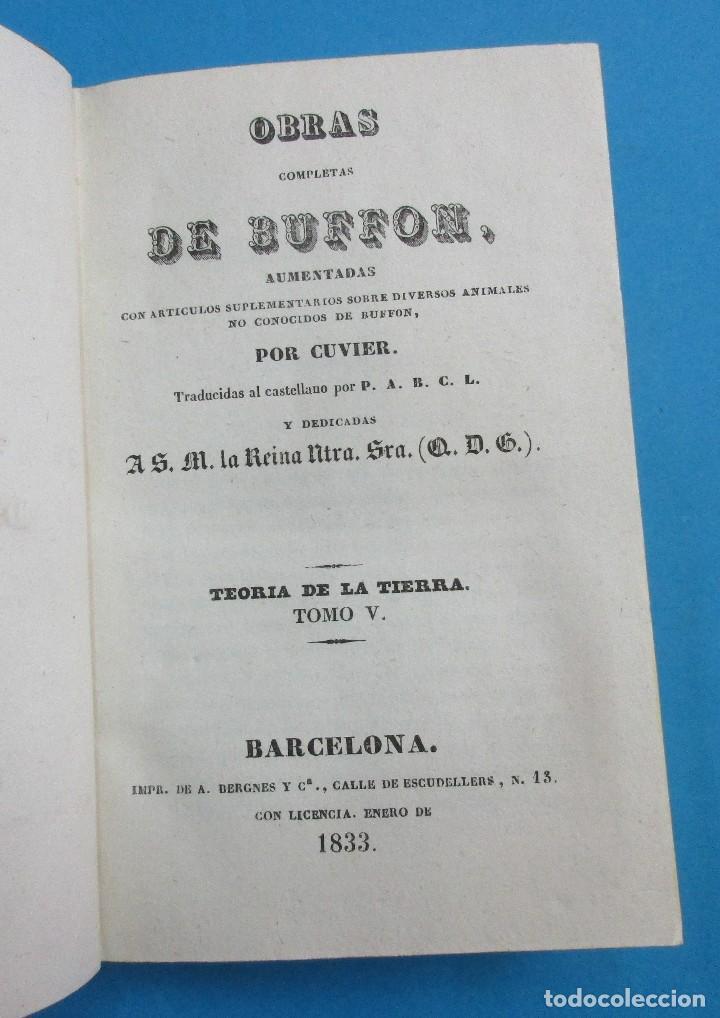 Libros antiguos: TEORÍA DE LA TIERRA. OBRAS DE BUFFON AUMENTADAS POR CUVIER. 6 TOMOS, 3 VOLÚMENES.1832. PIEL.COMPLETO - Foto 7 - 126260819