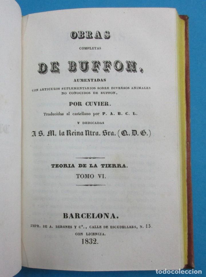 Libros antiguos: TEORÍA DE LA TIERRA. OBRAS DE BUFFON AUMENTADAS POR CUVIER. 6 TOMOS, 3 VOLÚMENES.1832. PIEL.COMPLETO - Foto 8 - 126260819
