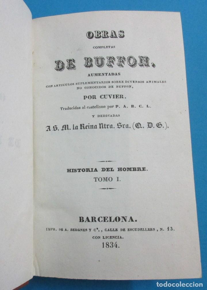 Libros antiguos: OBRAS DE BUFFON AUMENTADAS POR CUVIER.HISTORIA DEL HOMBRE. 5 TOMOS. 3 VOLÚMENES.1834. COMPLETO. PIEL - Foto 3 - 126268923