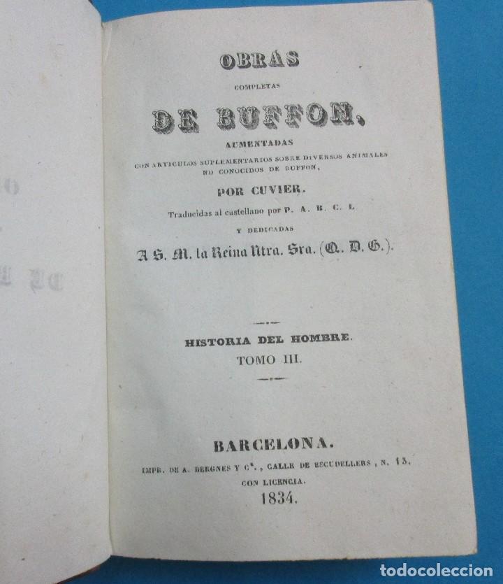 Libros antiguos: OBRAS DE BUFFON AUMENTADAS POR CUVIER.HISTORIA DEL HOMBRE. 5 TOMOS. 3 VOLÚMENES.1834. COMPLETO. PIEL - Foto 5 - 126268923