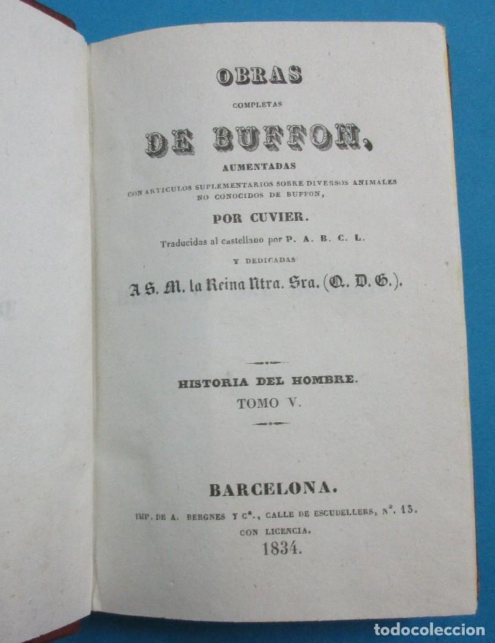 Libros antiguos: OBRAS DE BUFFON AUMENTADAS POR CUVIER.HISTORIA DEL HOMBRE. 5 TOMOS. 3 VOLÚMENES.1834. COMPLETO. PIEL - Foto 7 - 126268923