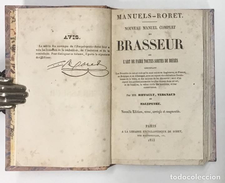 Libros antiguos: NOUVEAU MANUEL COMPLET DU BRASSEUR OU LART DE FAIRE TOUTES SORTES DE BIÈRES… CERVEZA, CERVEZAS - Foto 4 - 126276583