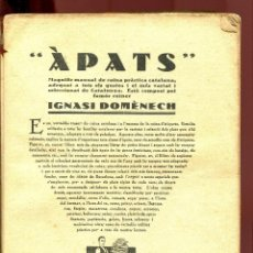 Libros antiguos: IGNASI DOMENECH. APATS. PRIMERA EDICIÓ. SENSE PORTADA. Lote 126326307