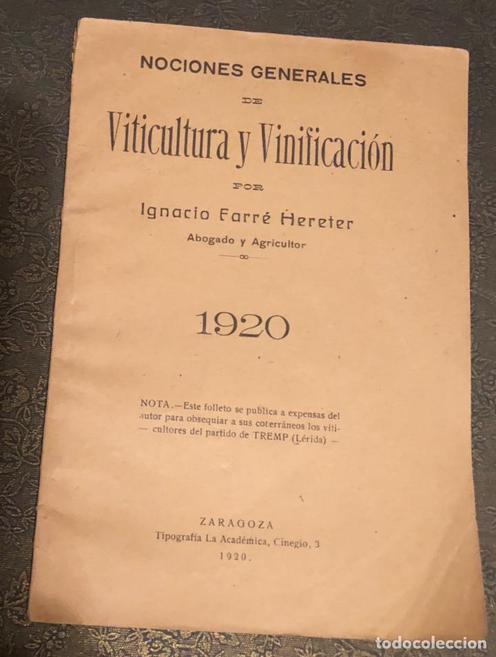 NOCIONES GENERALES DE VITICULTURA,Y VINIFICACIÓN (Libros Antiguos, Raros y Curiosos - Cocina y Gastronomía)