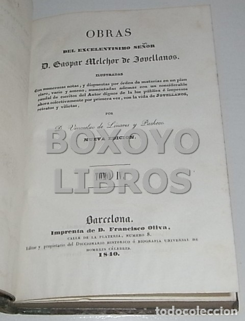 Libros antiguos: Obras del Excmo. Sr. Melchor Gaspar de Jovellanos. 8 tomos. 1839. Ilustradas con numerosas notas - Foto 11 - 47583095