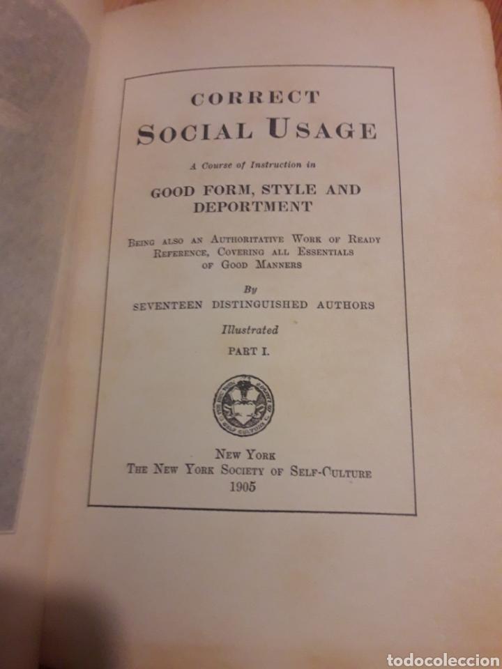 Libros antiguos: correct social usage buenas maneras 1905 new york society self-culture - Foto 2 - 127263670