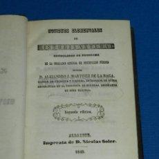 Libros antiguos: (MF) ALEJANDRO J MARTINEZ DE LA RAGA - NOCIONES ELEMENTALES DE HISTORIA NATURAL 1849. Lote 127306819