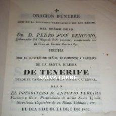 Libros antiguos: PRESBITERO ANTONIO PEREIRA,PEDRO JOSE BENCOMO.TENERIFE.CANARIAS.ORACION FUNEBRE.1835.. Lote 127461611