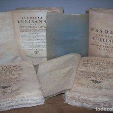 Libros antiguos: VINDICIAE LULLIANAE,SIVE DEMONSTRATIO CRITICA...4 TOMOS (COMPLETO).ANTONIO RAIMUNDO PASCUAL. 1778.. Lote 127468251