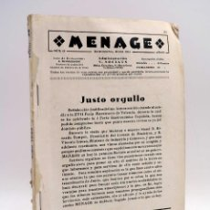 Libros antiguos: MENAGE, REVISTA DE COCINA 42. 2ª ÉPOCA. AÑO IV (VVAA) REVISTA MENAGE, 1934. Lote 127622719