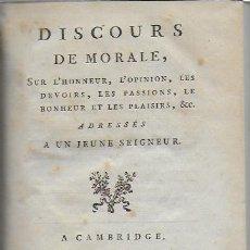 Libros antiguos: DISCOURS DE MORALE... PARIS : LIB. DE MONTFEIGNEUR COMTE D' ARTOIS, 1788. LIÉ EN PARCHEMIN.21X14CM. . Lote 127678543