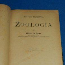 Libros antiguos: (MF) ODON DE BUEN - TRATADO ELEMENTAL DE ZOOLOGIA , BARCELONA 1890 , 1 EDC , MUY RARO. Lote 127760171