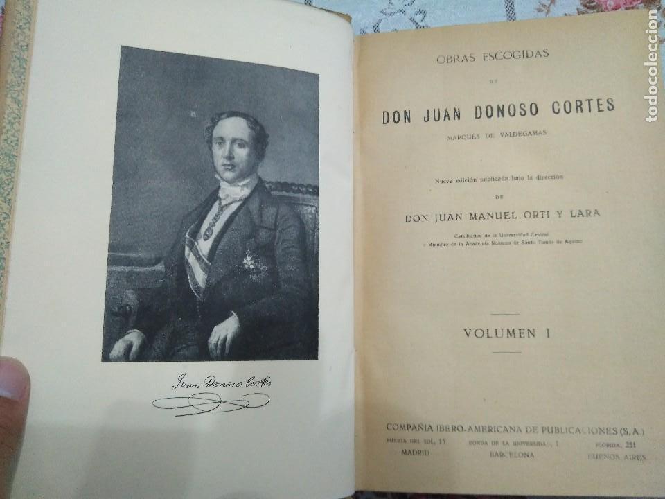 Libros antiguos: Obras escogidas de Juan Donoso Cortés. 1903. - Foto 3 - 127979235