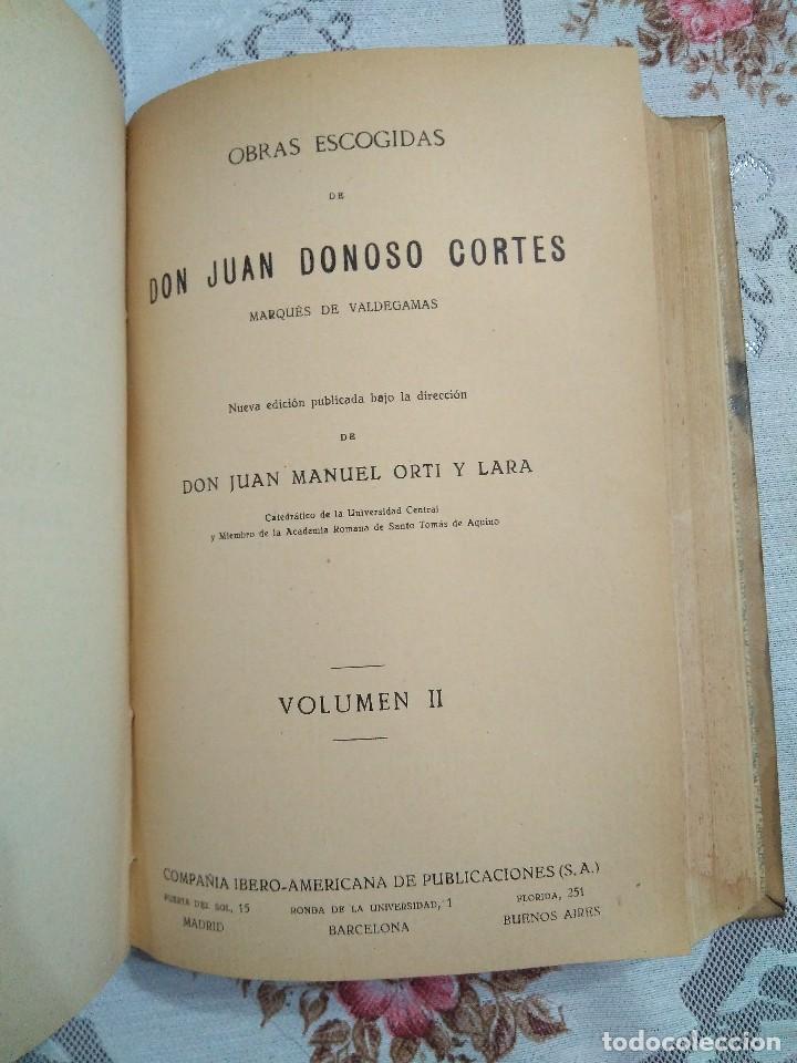 Libros antiguos: Obras escogidas de Juan Donoso Cortés. 1903. - Foto 4 - 127979235