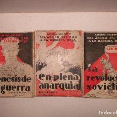 Libros antiguos: DEL ÁGUILA DEL ZAR A LA BANDERA ROJA. KRASNOW, P. N. 1931. 3 VOLS.. Lote 123205294