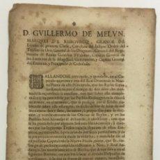 Libros antiguos: D. GUILLERMO DE MELUN, MARQUES DE RISBOURCQ... CAPITAN GENERAL DEL EXERCITO, Y PRINCIPADO DE CATHALU. Lote 123265542