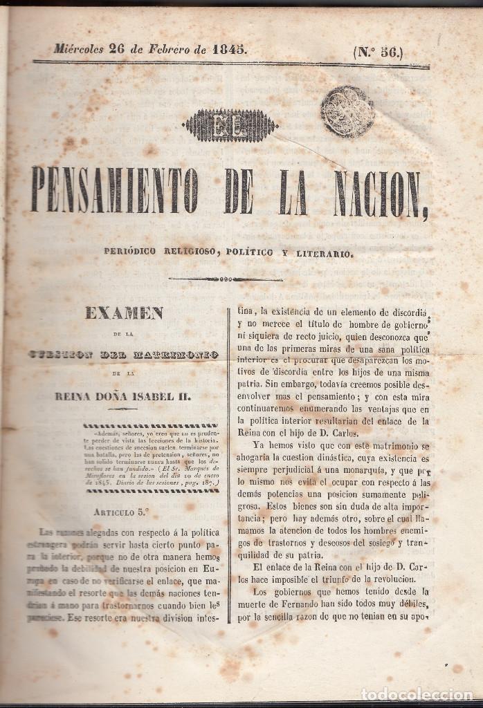 JAIME BALMES: EL PENSAMIENTO DE LA NACIÓN. PERIÓDICO RELIGIOSO, POLÍTICO Y LITERARIO. MADRID, 1845. (Libros Antiguos, Raros y Curiosos - Historia - Otros)