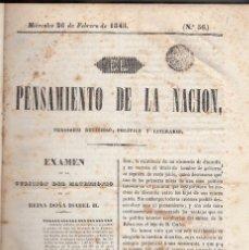 Libros antiguos: JAIME BALMES: EL PENSAMIENTO DE LA NACIÓN. PERIÓDICO RELIGIOSO, POLÍTICO Y LITERARIO. MADRID, 1845. . Lote 128212875