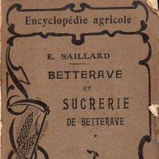Libros antiguos: SAILLARD : BETTERAVE ET SUCRERIE (BAILLIERE, PARIS, 1923) REMOLACHA AZUCARERA. Lote 128258747