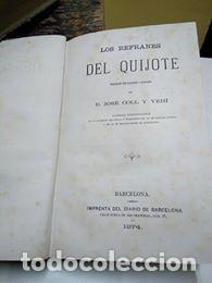 Libros antiguos: Los refranes del Quijote. José Coll y Vehí. 1ª edición 1874 - Foto 3 - 128352763