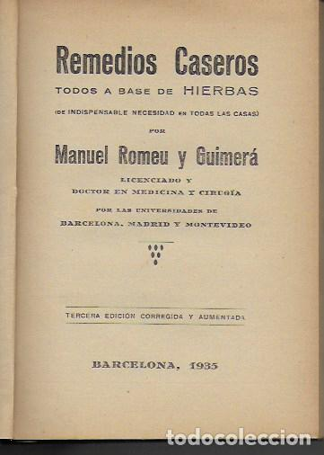 Libros antiguos: Remedios caseros. Todos a base de hierbas / M. Romeu Guimerá. BCN, 1935. Tapa dura. 17x12cm. 128 p. - Foto 2 - 128363751