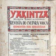 Libros antiguos: YAKINTZA. REVISTA DE CULTURA VASCA. Nº 11. AÑO 1934.. Lote 128665595