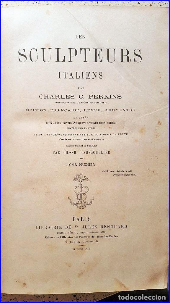 Libros antiguos: AÑO 1869: LOS ESCULTORES ITALIANOS. 2 ELEGANTES TOMOS DEL SIGLO XIX - Foto 2 - 129132691