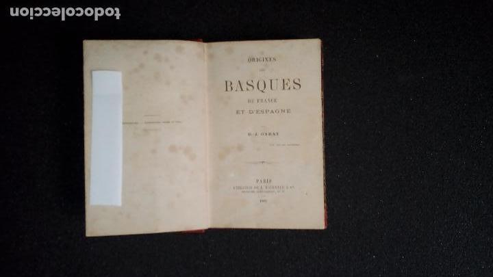 Libros antiguos: Garat. Origen de los Vascos de Francia y España.. - Foto 2 - 129338863