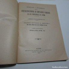 Libros antiguos: ESTATUTOS REGLAMENTO ASOCIACIÓN GENERAL DE EMPLEADOS Y OBREROS FERROCARRILES ESPAÑA 1920. Lote 129404671
