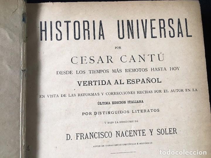 Libros antiguos: HISTORIA UNIVERSAL CESAR CANTÚ, 1886 11 TOMOS - Foto 5 - 129484411