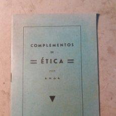 Libros antiguos: COMPLEMENTOS DE ETICA. ALCOY 1935. Lote 130058788