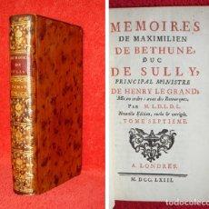 Libros antiguos: AÑO 1763 - PRECIOSO - MEMORIAS DEL DUQUE DE SULLY - ESPAÑA - REVUELTA DE LOS MORISCOS -EXPULSIÓN ETC. Lote 124575731
