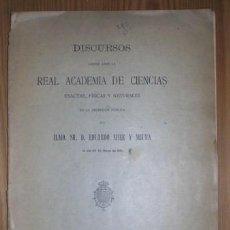 Libros antiguos: MIER Y MIURA, E: DISCURSOS LEÍDOS ANTE LA R.A. DE CC. EXACTAS... EL 28 DE MAYO DE 1911 (SISMOLOGIA). Lote 131090044