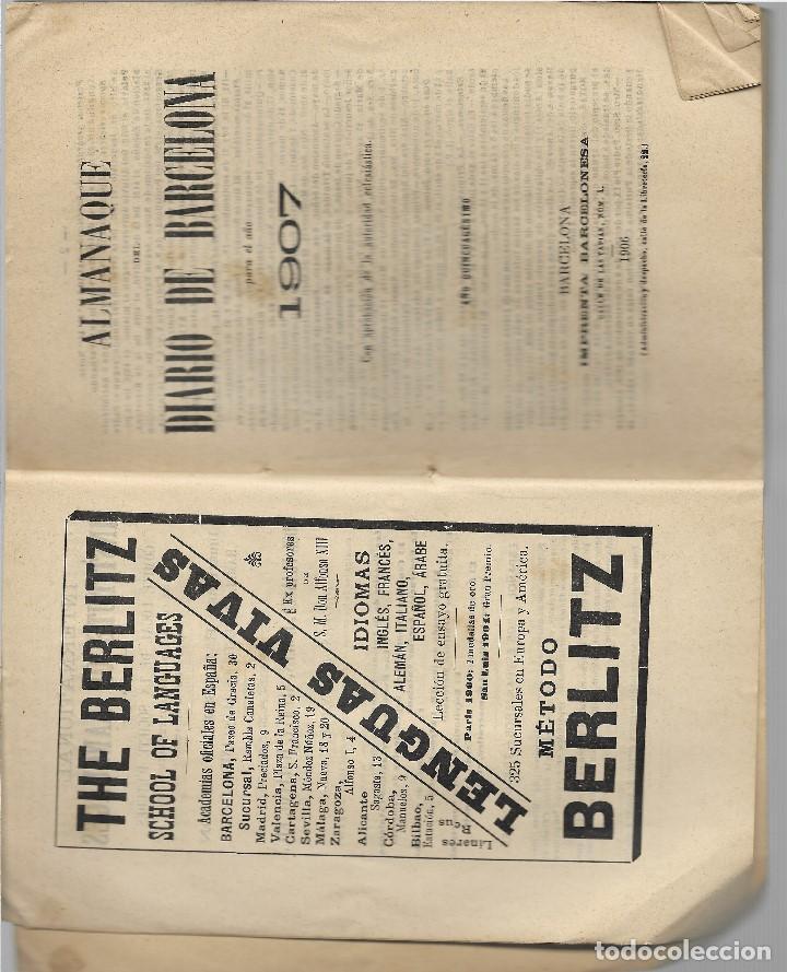 Libros antiguos: ALMANAQUE DIARIO DE BARCELONA AÑO 1907 - VER FOTOS - MUCHA PUBLICIDAD EPOCA - Foto 2 - 131154504