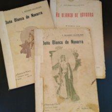 Libros antiguos: DOÑA BLANCA DE NAVARRA 1909 - 3 TOMOS - LA NOVELA DE AHORA - RARO. Lote 131592541