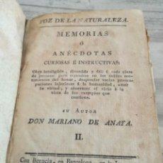 Libros antiguos: VOZ DE LA NATURALEZA - MEMORIAS O ANÉCDOTAS CURIOSAS E INSTRUCTIVAS (1804). Lote 131735178