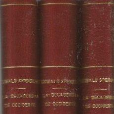 Livres anciens: OSWALD SPENGLER. LA DECADENCIA DE OCCIDENTE. 3 TOMOS. INCOMPLETO. Lote 248634390