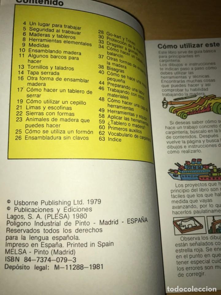Libros antiguos: GUÍA DEL AFICIONADO CARPINTERÍA ED PLESA / SM, 1979 - Foto 4 - 132121310