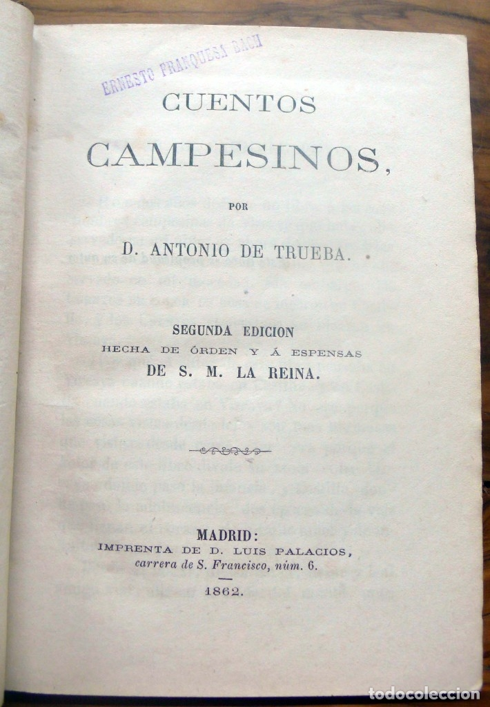 Libros antiguos: CUENTOS CAMPESINOS. - DE TRUEBA, D. Antonio.- Madrid, 1862. - Foto 2 - 123180596