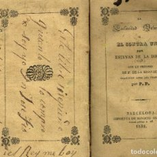 Libros antiguos: LA ESCLAVITUD VOLUNTARIA E.DE LA BOECIA PRÓLOGO LAMENAIS EL ILUSTRADOR PLEBEYO 1839. Lote 132555454