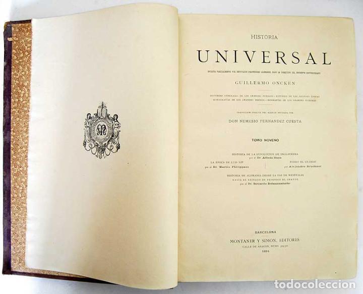 Libros antiguos: Historia Universal. Tomo 9 - Guillermo Oncken. Montaner y Simón. 1894 - Foto 3 - 132692118