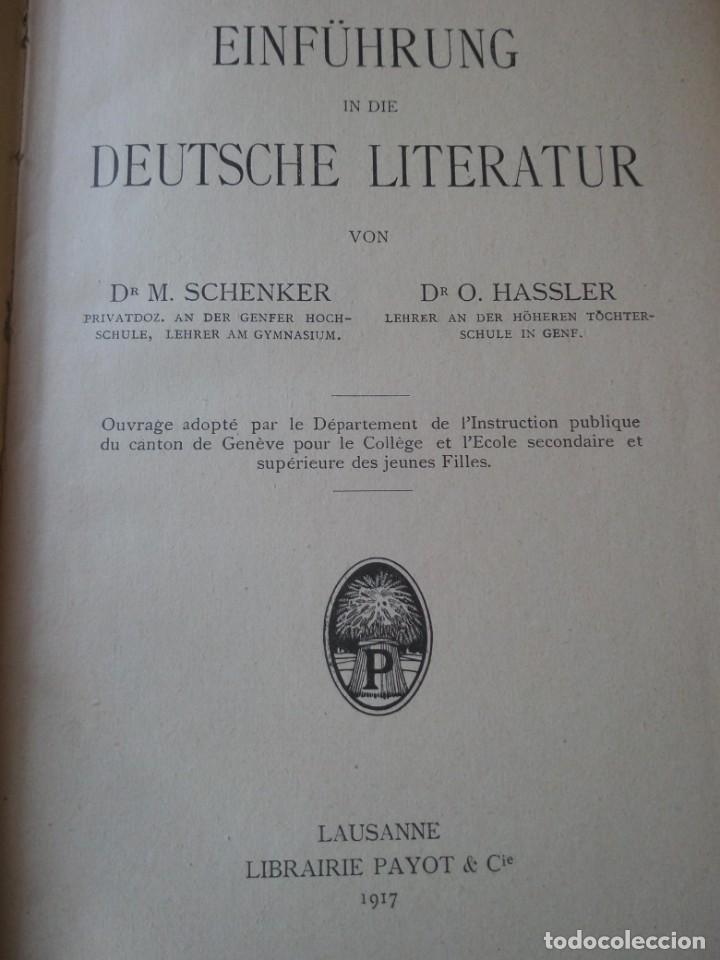 Libros antiguos: einführung in die deutsche literatur schenker & hassler payot & cie 1917 - Foto 3 - 132694290