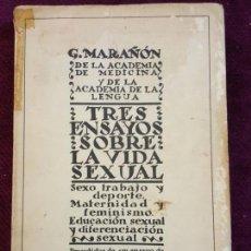 Libros antiguos: TRES ENSAYOS SOBRE LA VIDA SEXUAL. G. MARAÑON. BIBLIOTECA NUEVA, MADRID 1934. Lote 132800914