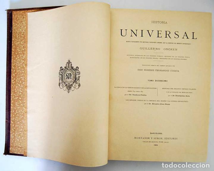 Libros antiguos: Historia Universal. Tomo 12 - Guillermo Oncken. Montaner y Simón - Foto 3 - 132849430