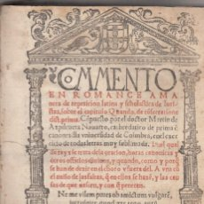 Libros antiguos: MARTIN DE AZPILCUETA. COMMENTO DEL CAPITULO QUANDO DE CONCONSECRATIONE DIST PRIMA. COIMBRA, 1545. Lote 133011250