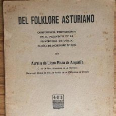 Libros antiguos: DEL FOLKLORE ASTURIANO - CONFERENCIA AURELIO DE LLANO ROA DE AMPUDIA- EDICIÓN DE 1921. Lote 133199694