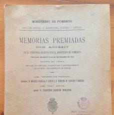 Libros antiguos: ENSILAJE- SILOS- MINISTERIO DE FOMENTO- MEMORIAS PREMIADAS 1.903. Lote 133321422