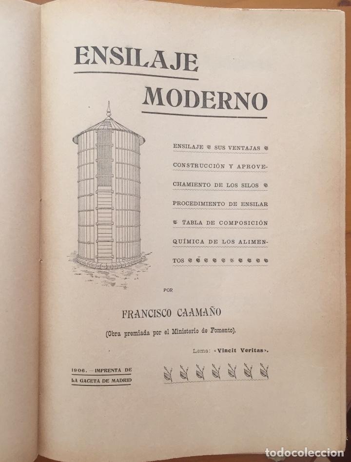 Libros antiguos: ENSILAJE- SILOS- MINISTERIO DE FOMENTO- MEMORIAS PREMIADAS 1.903 - Foto 5 - 133321422